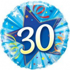 30th Birthday Shining Star Bright Blue Foil Balloon 18""